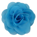 "Blue - 3"" Silky Chiffon Rose Flower"