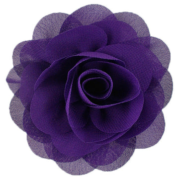 "Purple - 3"" Silky Chiffon Rose Flower"