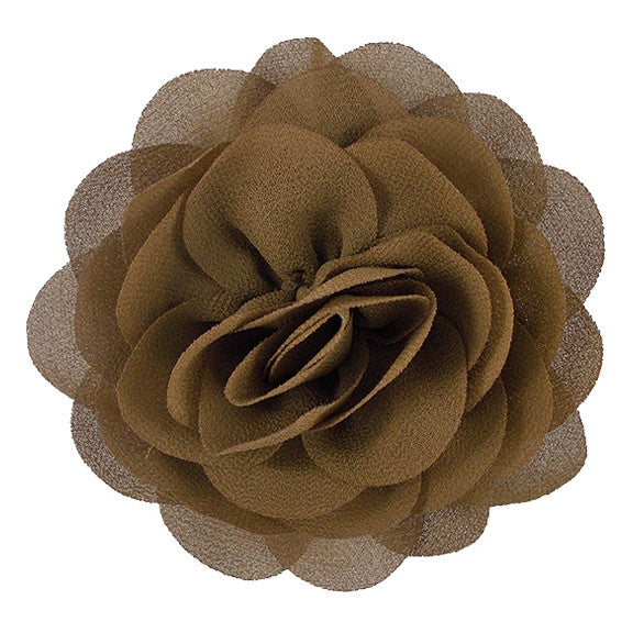 "Brown - 3"" Silky Chiffon Rose Flower"