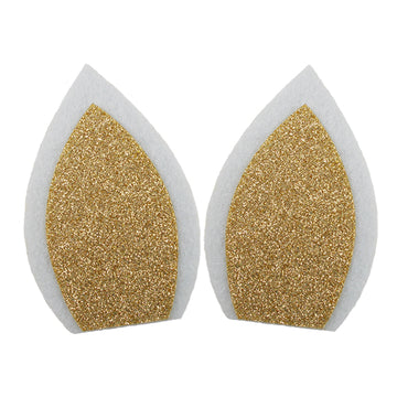 "White + Gold - 3"" Felt Unicorn Ears"