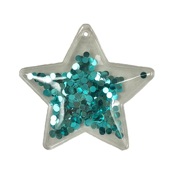 "Blue Confetti Circles - 2.5"" Star w/ Hole"