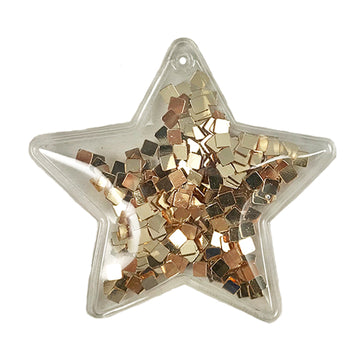 "Gold Confetti Squares - 2.5"" Star w/ Hole"