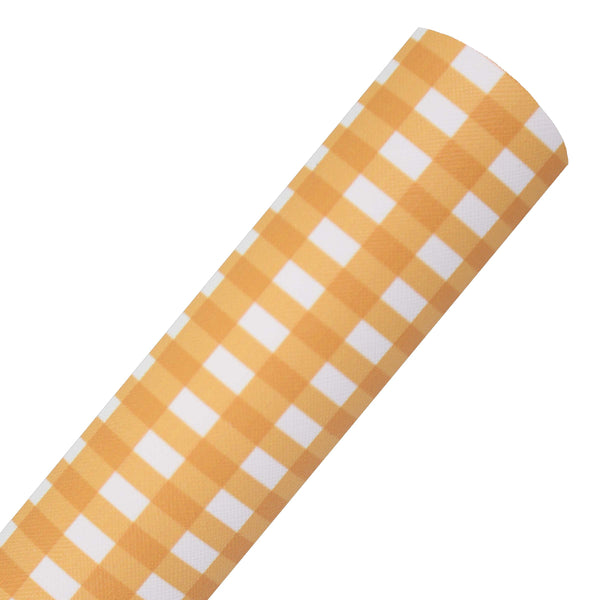 Orange Check - Printed Faux Leather Sheet