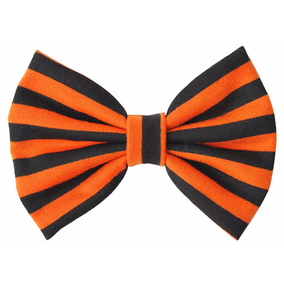 Black & Orange Striped - XL Jersey Knit Bow