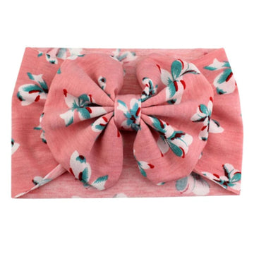 Coral Floral Bows - Jersey Knit Bow Headwrap