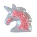 "Light Pink Confetti Hearts - 2.5"" Unicorn w/ Hole"