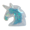 "Blue Confetti Hearts - 2.5"" Unicorn w/ Hole"