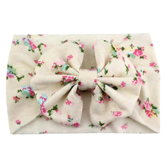 Cream Floral - Jersey Knit Bow Headwrap