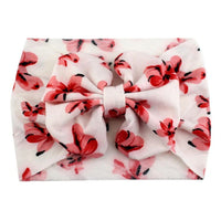 White Floral Bows - Jersey Knit Bow Headwrap