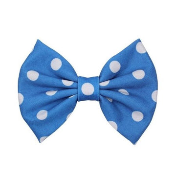 "Blue + White Dot - 5"" Fabric Bow"