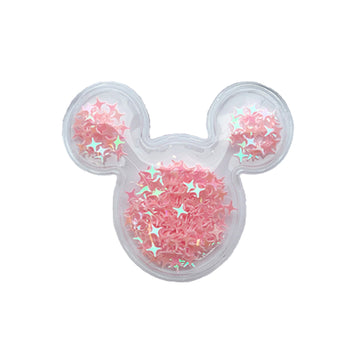 "Light Pink Confetti Stars - 2"" Mouse Head"
