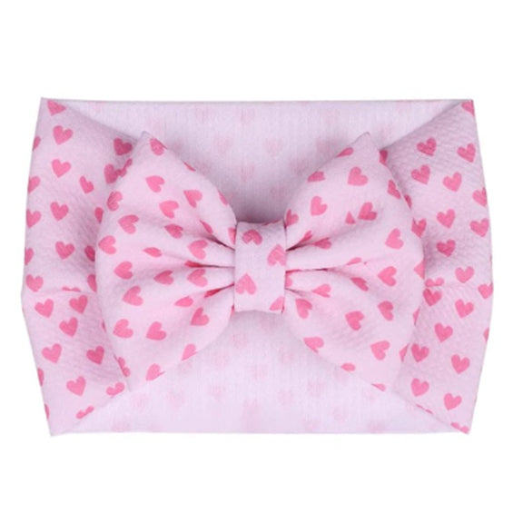 Pink Hearts - Liverpool Bow Headwrap
