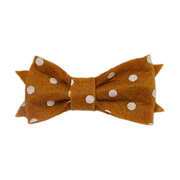 "Beige & White Polka Dots - 2"" Mini Felt Bow"