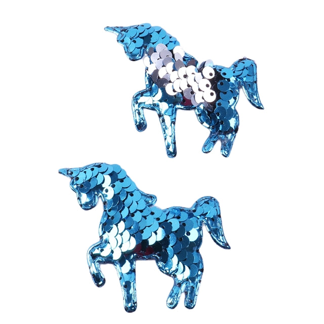 "Blue & Silver Reversible Sequins Unicorn - 2.5"" Padded Applique"