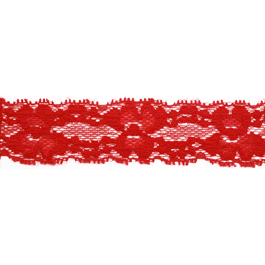 "Red - 1"" Stretch Lace Elastic"