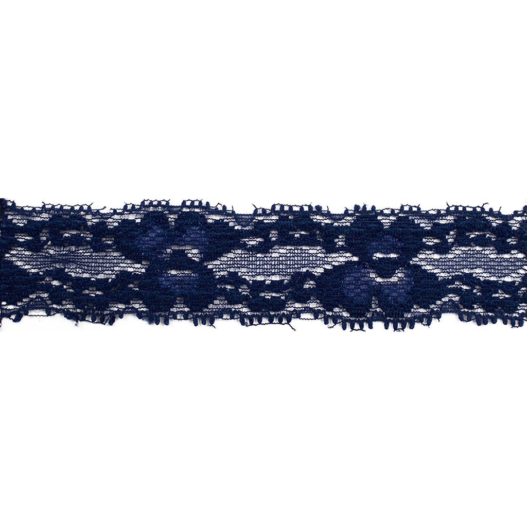 "Navy Blue - 1"" Stretch Lace Elastic"