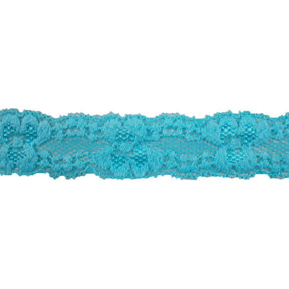 "Blue - 1"" Stretch Lace Elastic"
