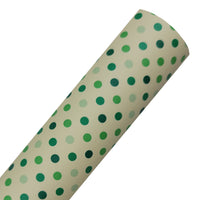 Green Dots - Custom Printed Smooth Faux Leather Sheet