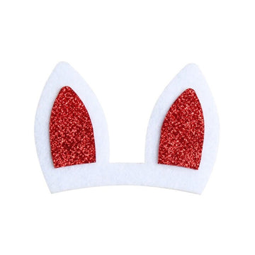"Red Bunny Ears - 3"" Felt + Glitter Applique"