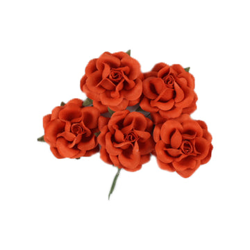"Blood Orange - 1.5"" Premium Paper Roses"