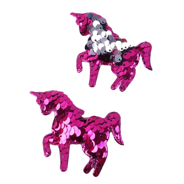 "Hot Pink & Silver Reversible Sequins Unicorn - 2.5"" Padded Applique"