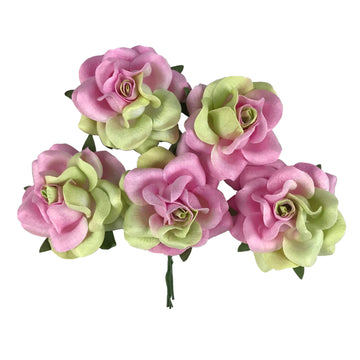 "Candy - 1.5"" Premium Variegated Paper Roses"
