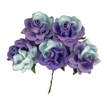 "Isabelle - 1.5"" Premium Variegated Paper Roses"