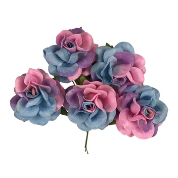 "Lucy - 1.5"" Premium Variegated Paper Roses"