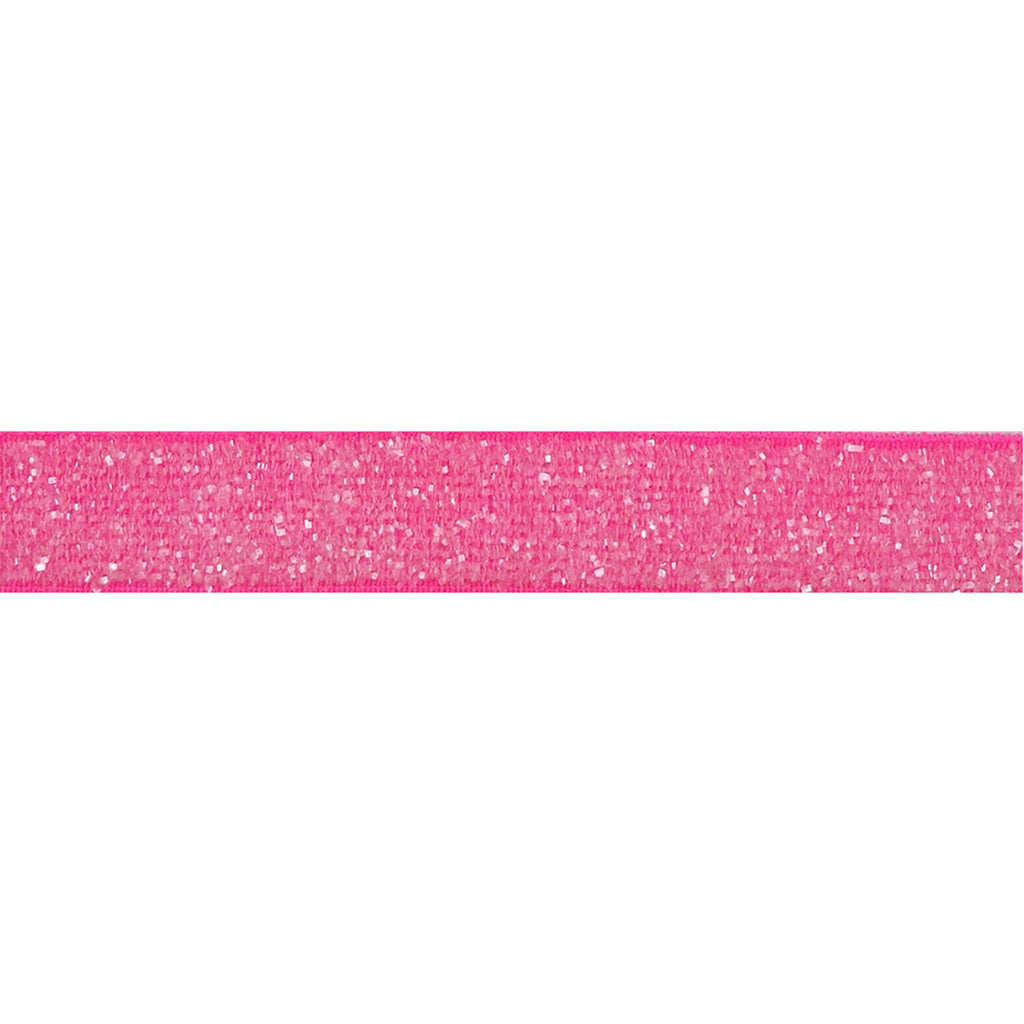"Neon Pink - 3/8"" Frosted Glitter Elastic"