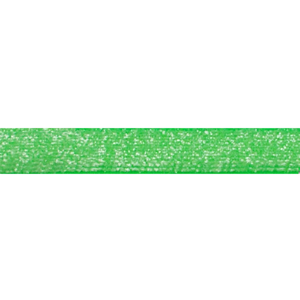 "Neon Green - 3/8"" Frosted Glitter Elastic"