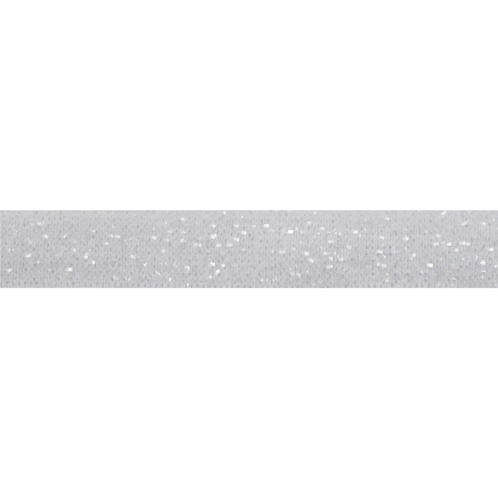 "White - 3/8"" Frosted Glitter Elastic"