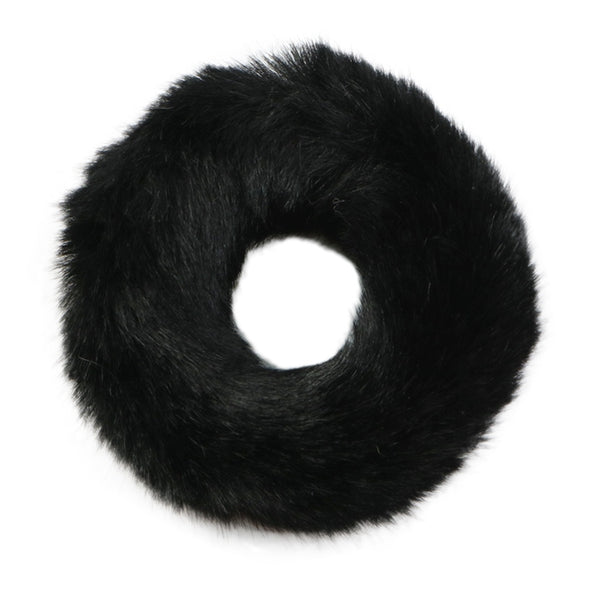 Black - Faux Bunny Fur Scrunchie