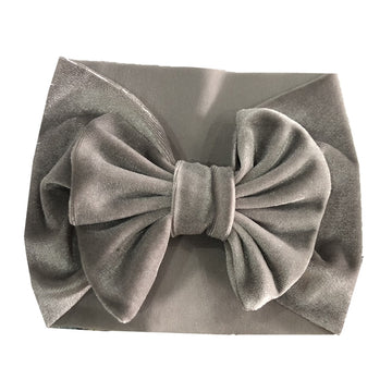 Gray - Baby Velvet Bow Headwrap