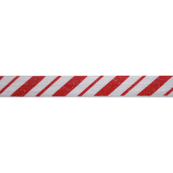 "Candy Cane Stripes with Glitter - 5/8"" Printed Fold Over Elastic"
