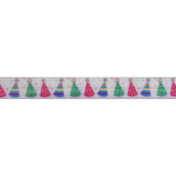 "Birthday Hats - 5/8"" Printed Fold Over Elastic"