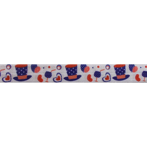 "4th of July Party - 5/8"" Printed Fold Over Elastic"