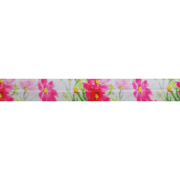 "Another Pink Floral - 5/8"" Printed Fold Over Elastic"