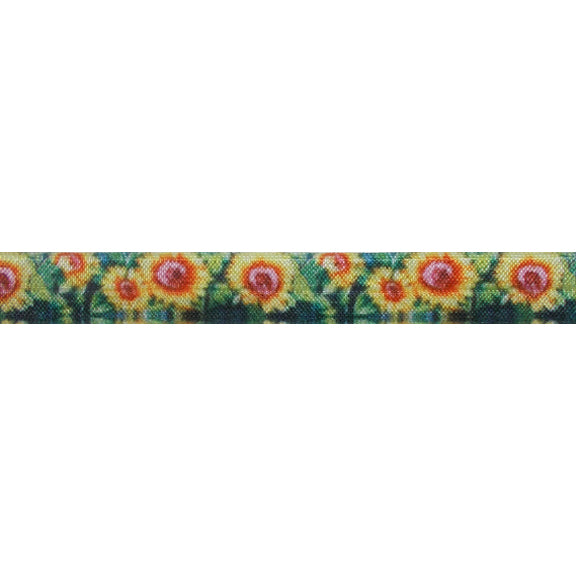 "Sunflowers - 5/8"" Printed Fold Over Elastic"