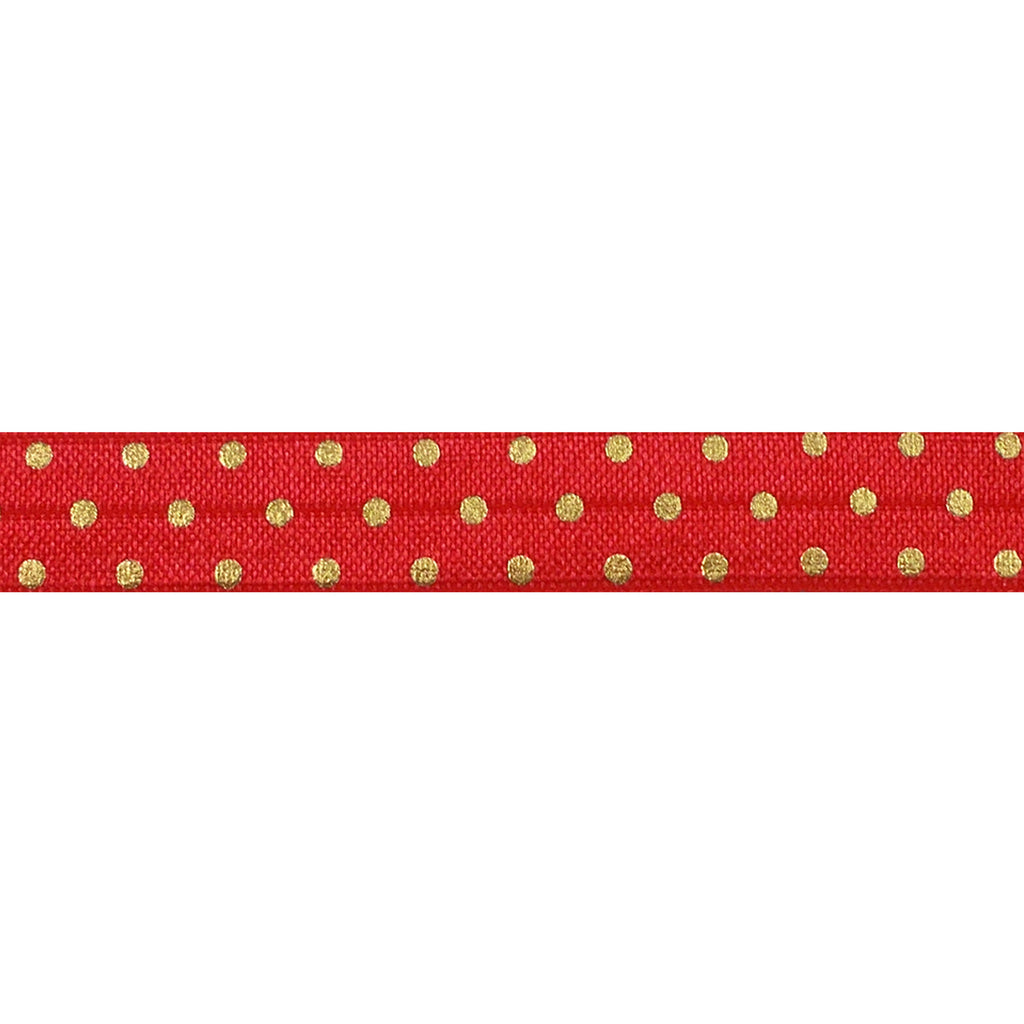 "Red & Gold Polka Dots - 5/8"" Metallic Printed Fold Over Elastic"