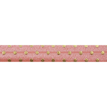 "Coral Peach + Gold Dot - 5/8"" Metallic Printed Fold Over Elastic"