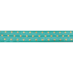 "Aquamarine & Gold Polka Dots - 5/8"" Metallic Printed Fold Over Elastic"