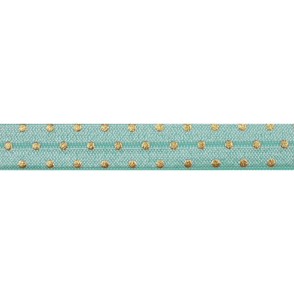 "Sea Foam + Gold Dot - 5/8"" Metallic Printed Fold Over Elastic"