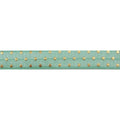 "Mint Green + Gold Dot - 5/8"" Metallic Printed Fold Over Elastic"