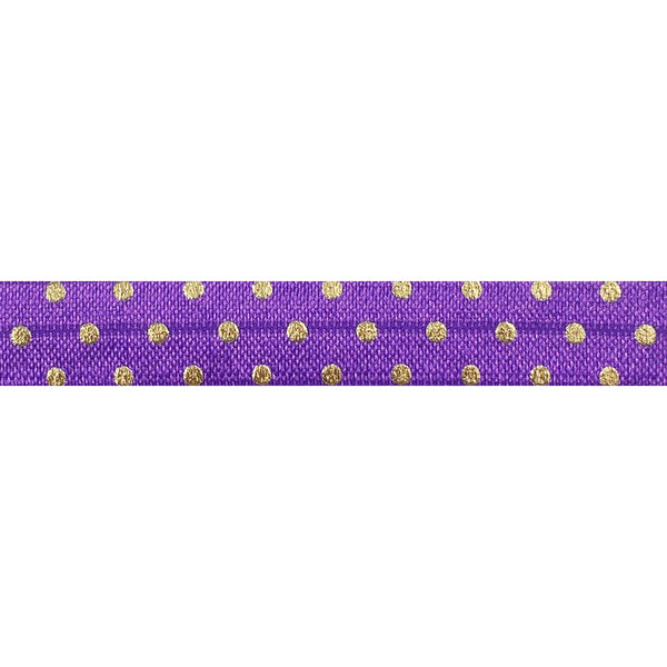 "Purple + Gold Dot - 5/8"" Metallic Printed Fold Over Elastic"