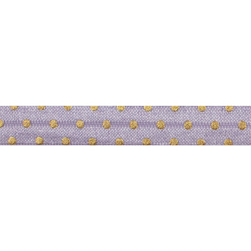 "Lavender + Gold Dot - 5/8"" Metallic Printed Fold Over Elastic"
