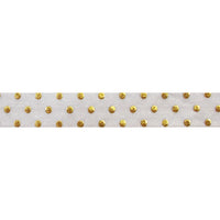 "White + Gold Dot - 5/8"" Metallic Printed Fold Over Elastic"