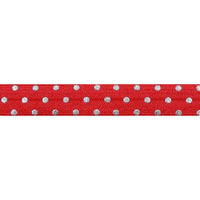 "Red + Silver Dot - 5/8"" Metallic Printed Fold Over Elastic"