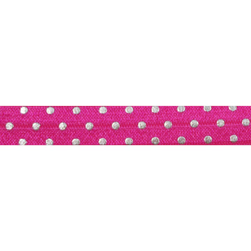 "Hot Pink + Silver Dot - 5/8"" Metallic Printed Fold Over Elastic"