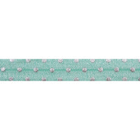 "Sea Foam + Silver Dot - 5/8"" Metallic Printed Fold Over Elastic"