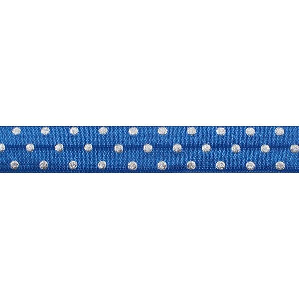 "Sapphire Blue + Silver Dot - 5/8"" Metallic Printed Fold Over Elastic"